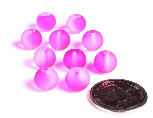10mm Hot pink round rubberized glass beads - Rubber cover loose beads - Matte round beads - 10 pieces (1506)