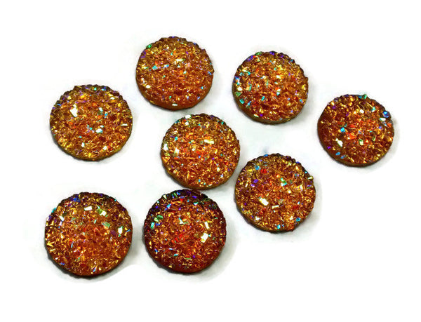 12mm AB Gold ochre orange round cabochon - Faux druzy cabochon - Faux drusy cabochon - Textured cabochon - 8 pieces (1508)