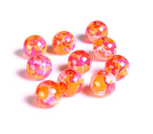 8mm Pink orange red white spotted round glass beads - Multicolor spot pattern glass beads - 10 pieces (1507)