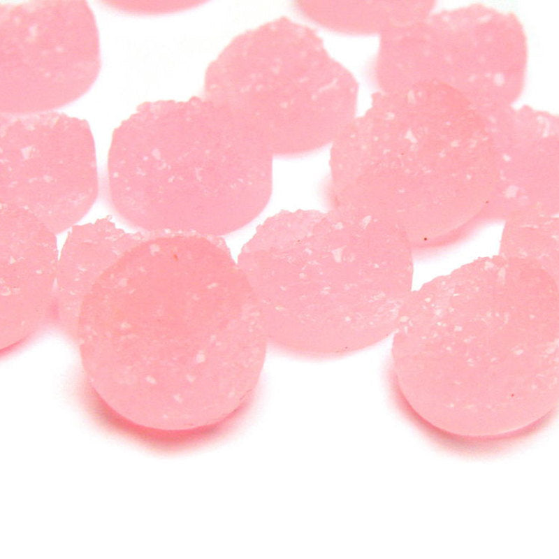 12mm Pink round resin cabochon - Faux drusy cabochons - Faux druzy cabochons - Textured cabochons - 8 pieces (1510)