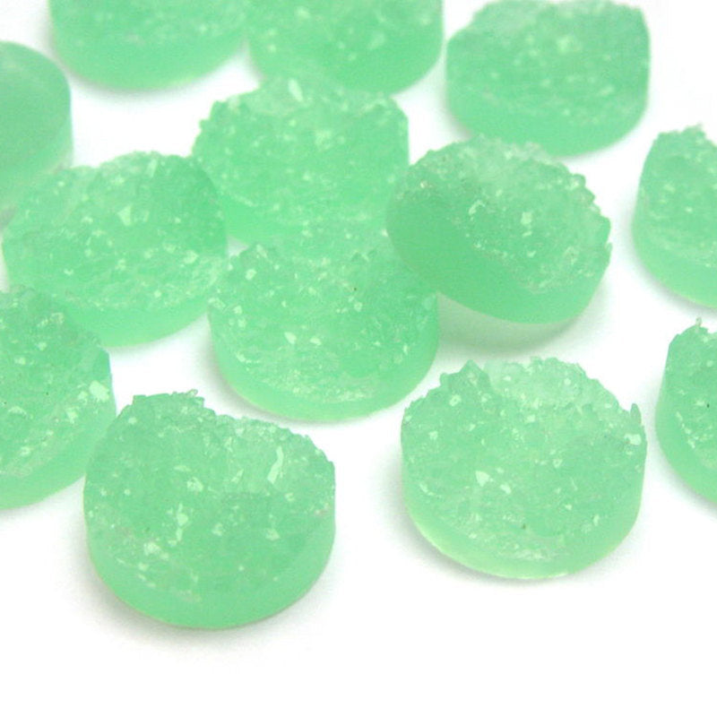 12mm Light green round resin cabochon - Faux drusy cabochon - Faux druzy cabochon - Textured cabochon - 6 pieces (1511)