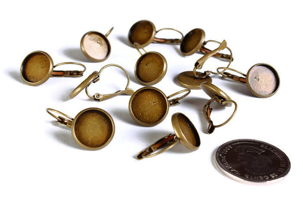 12mm Leverback Earring Settings - antique brass - Lead free Nickel free Cadmium free - 10 pieces (1525)