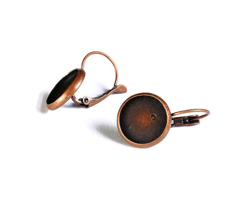 12mm Leverback Earring Settings - antique copper - Lead free Nickel free Cadmium free - 10 pieces (1517)