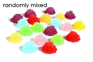 12mm Mixed color flower resin cabochons - Dahlia with Glitter Powder - mum cabochon - 20 pieces (1519)
