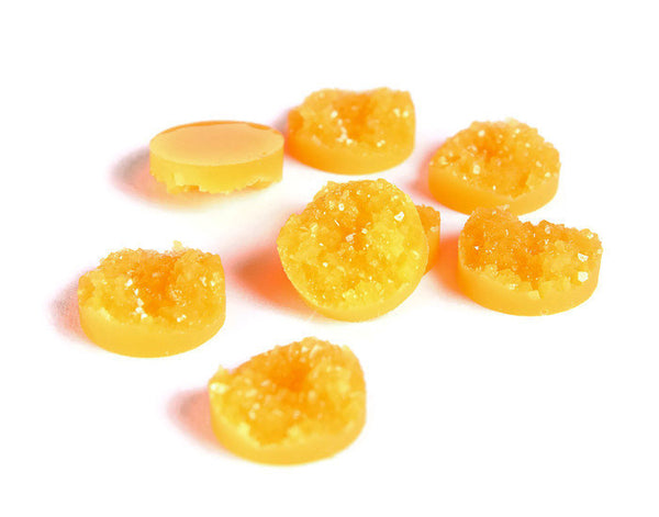 12mm Orange round resin cabochon - Textured cabochons - Faux druzy cabochons - Faux drusy cabochons - 6 pieces (1528---)
