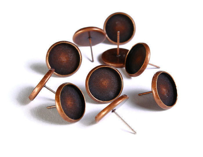 12mm earstud antique copper findings - nickel free lead free cadmium free - 10 pieces (5 pairs) (1530)