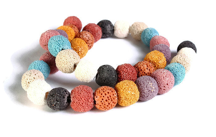 12mm Mixed color lava beads - Synthetic lava round beads - Synthetic Lava Rock - 30 pieces (1531)
