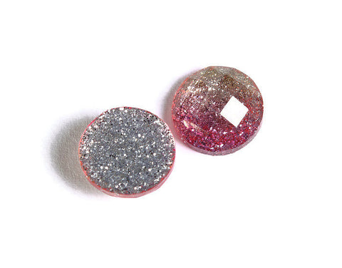 12mm Pink and gold glitter cabochon - sparkly cabochon - Galaxy glitter - 12mm Kawaii cabochon - Earring Finding - 6 pieces (1535)