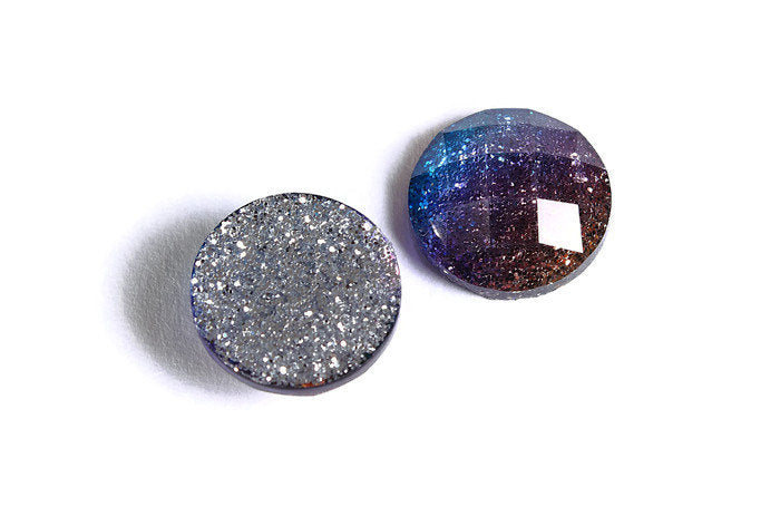 12mm Blue purple gold glitter cabochon - sparkly cabochons - Galaxy glitter - 12mm Kawaii cabochon - 6 pieces (1536)