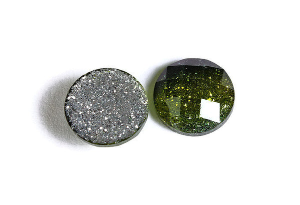 12mm Green glitter cabochon - sparkly cabochons - Galaxy glitter cabochon - 12mm Kawaii cabochon - 6 pieces (1537)