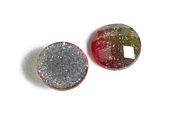 12mm Pink green glitter cabochon - sparkly cabochons - Galaxy glitter cabochon - 12mm Kawaii cabochon - 6 pieces (1539)