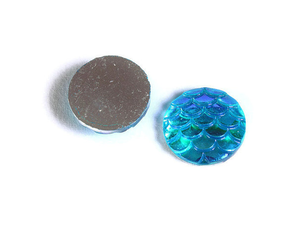 12mm Blue AB cabochon - Mermaid cabochon - Fish scale cab - Dragon scale cabochon - Snake Skin cabochons - 6 pieces (1541)