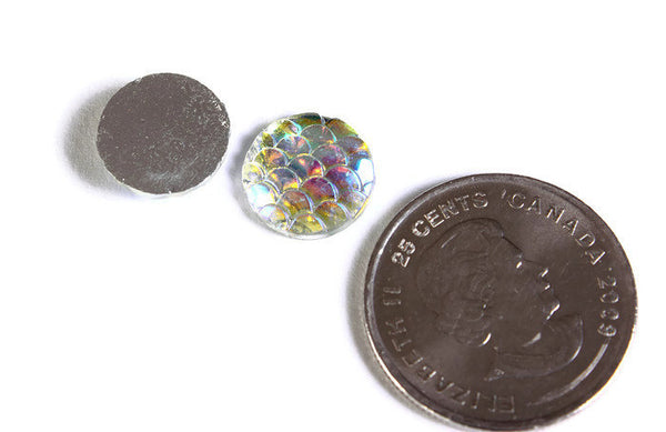 12mm Rainbow silver AB cabochon - Mermaid cabochon Fish scale cab - Dragon scale cabochon - Snake Skin cabochon - 6 pieces (1542)