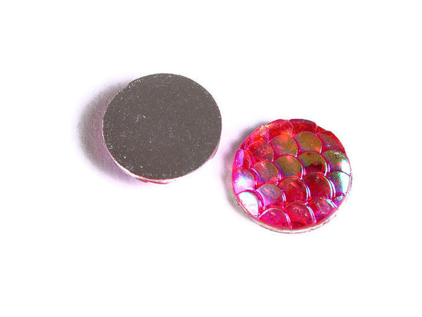 12mm Hot pink AB cabochon - Mermaid cabochon Fish scale cab - Dragon scale cabochon - Snake Skin cabochon - 6 pieces (1545)