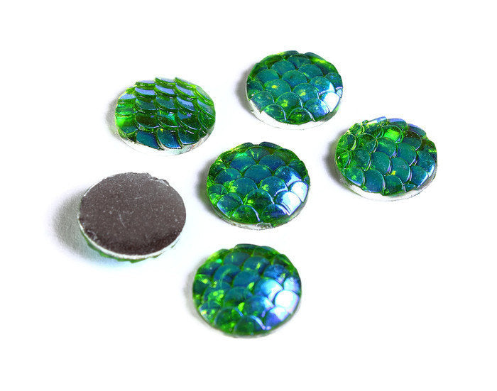 12mm Green yellow AB cabochon - Mermaid cabochon Fish scale cab - Dragon scale cabochon - Snake Skin cabochon - 6 pieces (1543)