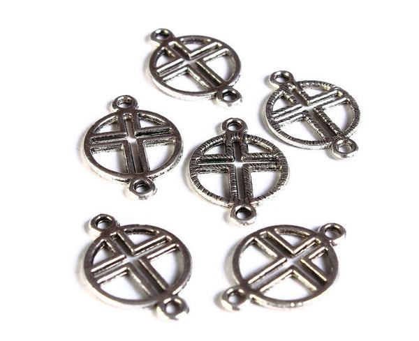 21mm x 14mm cross connectors antique silver color - Metal cross connectors - Metal cross links - 6 pieces (1546)