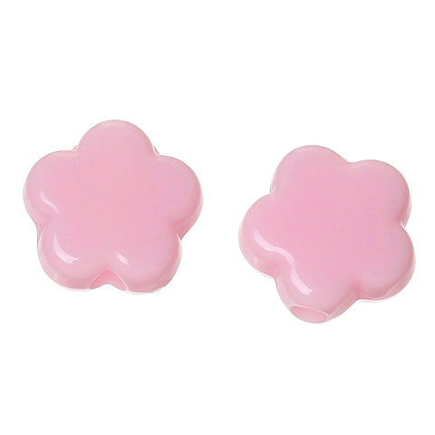 9mm Pink flower beads - Opaque flower beads - Spacer resin - 20 pieces (1547)