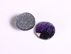 12mm Purple glitter cabochon - Grape sparkly cabochons - Galaxy glitter cabochon - 12mm Kawaii cabochon - 6 pieces (1549)
