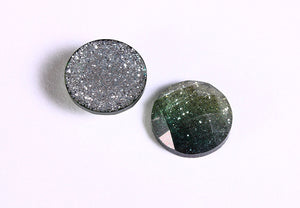 12mm Green yellow glitter cabochon - gradient sparkly cabochons - Galaxy glitter cabochon - 12mm Kawaii cabochon - 6 pieces (1550)