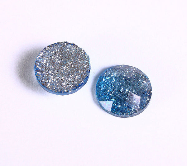 12mm Blue silver glitter cabochon - gradient sparkly cabochons - Galaxy glitter cabochon - 12mm Kawaii cabochon - 6 pieces (1552)