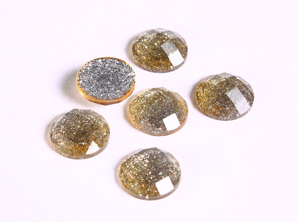12mm Yellow glitter cabochon - Gold sparkly cabochons - Galaxy glitter cabochon - 12mm Kawaii cabochon - 6 pieces (1548)