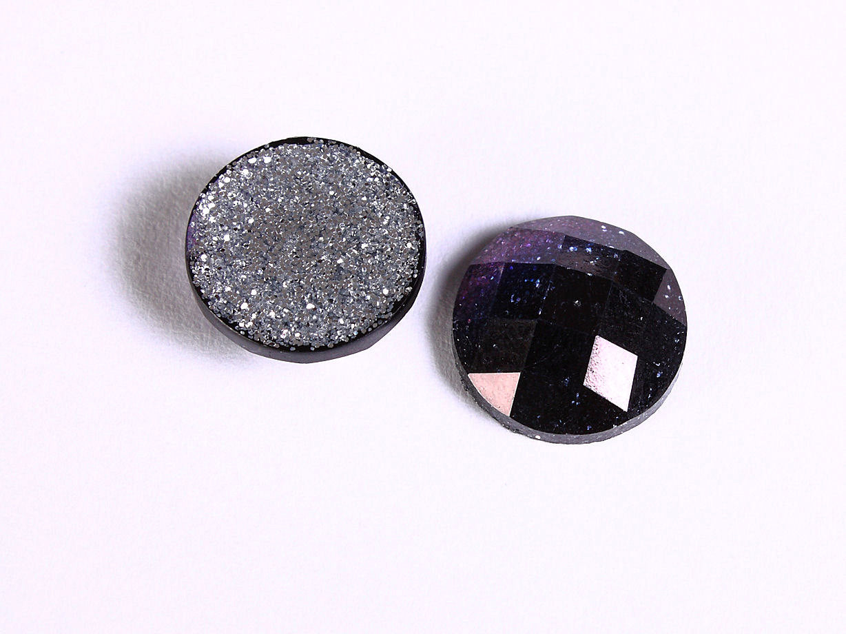 12mm Dark purple blue glitter cabochon - Grape sparkly cabochon - Galaxy glitter cabochon - 12mm Kawaii cabochon - 6 pieces (1553)