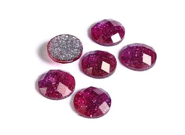 12mm Hot pink glitter cabochon - Fuchsia sparkly cabochons - Galaxy glitter cabochon - 12mm Kawaii cabochon - 6 pieces (1554)