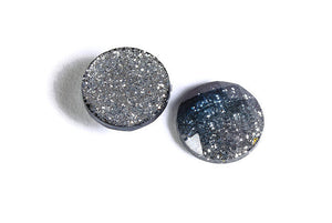 12mm Blue grey silver glitter cabochon - Sparkly cabochons - Galaxy glitter cabochon - 12mm Kawaii cabochon - 6 pieces (1555)