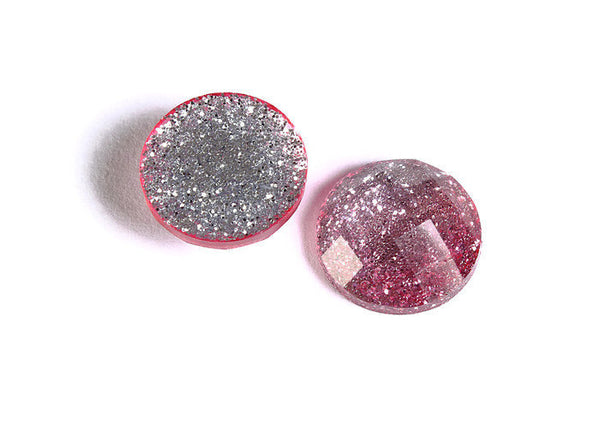 12mm Pink silver glitter cabochon - gradient sparkly cabochons - Galaxy glitter cabochon - 12mm Kawaii cabochon - 6 pieces (1558)