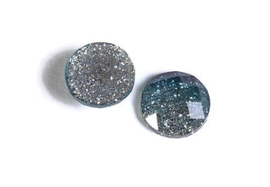12mm Blue silver glitter cabochon - gradient sparkly cabochons - Galaxy glitter cabochon - 12mm Kawaii cabochon - 6 pieces (1557)