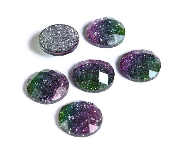 12mm Pink blue green glitter cabochon - gradient sparkly cabochon - Galaxy glitter cabochon - 12mm Kawaii cabochon - 6 pieces (1559)