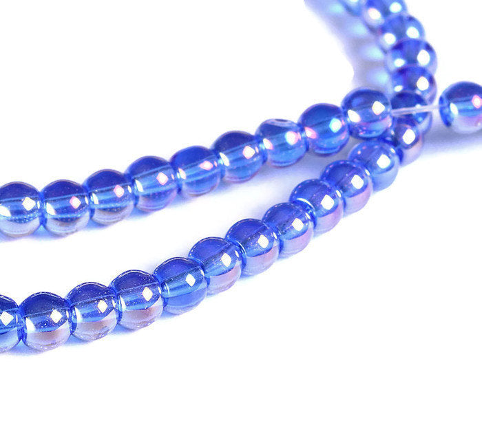 4mm metallic blue glass beads - round Blue AB finish beads - Glass beads for Jewelry Making - 1 strand (1562)