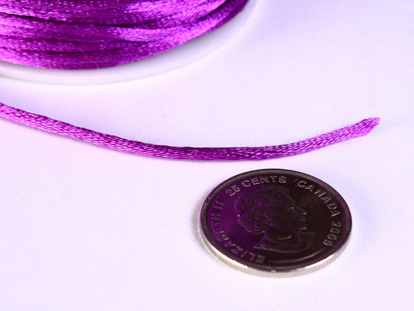 2mm Purple nylon thread cord - Knotting cord - Thick nylon thread - Nylon satin cord - Macrame cord - 10 feet (R025)