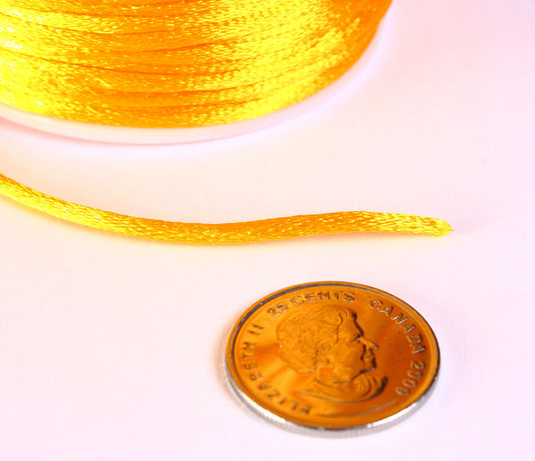 2mm orange nylon thread cord - Knotting cord - Thick nylon thread - Nylon satin cord - Macrame cord - 10 feet (R031)