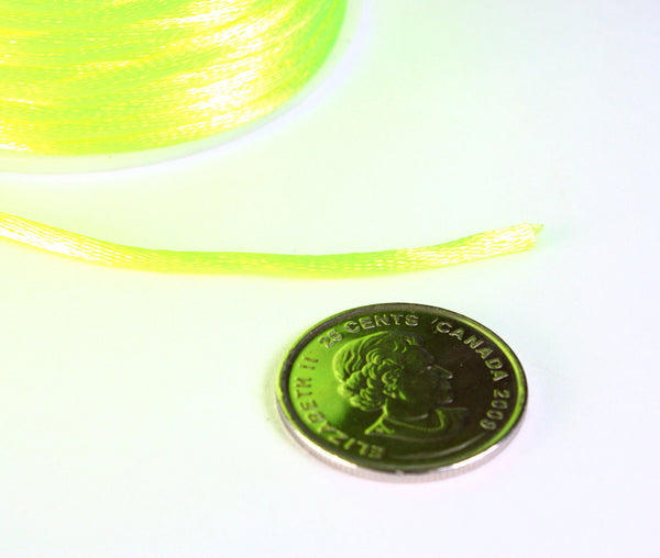 2mm Neon yellow nylon thread cord - Knotting cord - Thick nylon thread - Nylon satin cord - Macrame cord - 10 feet (R034)