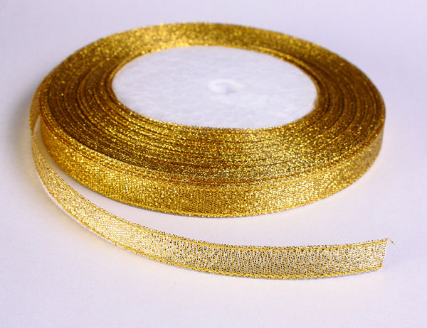 12mm Sparkle gold ribbon - slightly less than 1/2 Inch - 25 yards - 75 feet (R034-1)