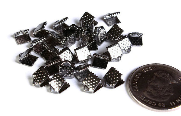 6mm Gunmetal Ribbon ends - Clamps Crimp Ribbon End - Clasps - Bracelet Ends - Black ribbon ends - 50 pieces (1588)