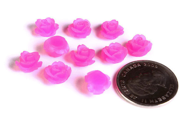 10mm Hot pink frosted flower cabochon - Magenta rosebud cabochon - Resin cabochons - 3d cabochons - 10 pieces (1590)