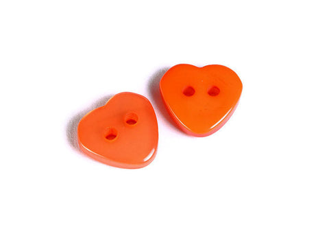 11mm Orange heart button - resin button - craft button - Heart shape buttons - 2 holes - 6 pieces (1606)
