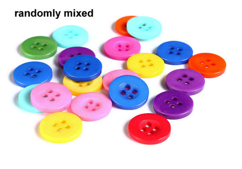 13mm Mixed color button - resin button - craft button - Round buttons - 4 holes - 15 pieces (1603)