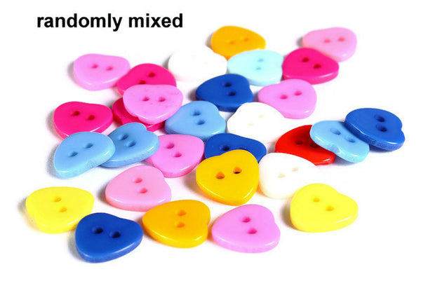 11mm Mixed color heart button - resin button - craft button - Heart shape buttons - 2 holes - 20 pieces (1609)