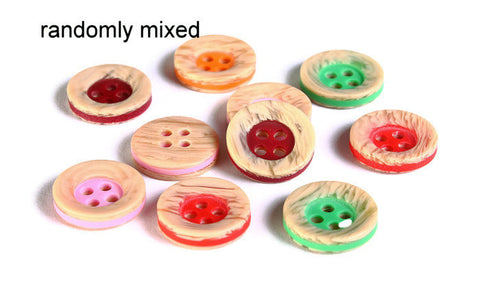13mm Mixed color button - Imitation wood resin button - craft button - Round button - Two tone buttons - 4 holes - 8 pieces (1610)