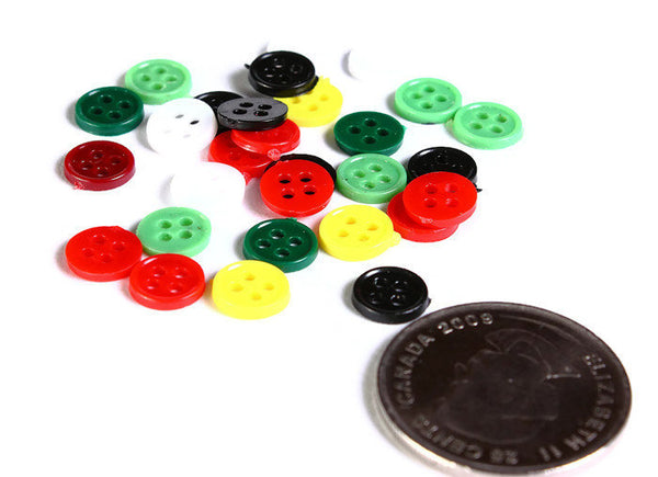 8mm Mixed color button - Resin button - craft button - Round button - 4 holes - Low price with DEFECTS - 30 pieces (1605)