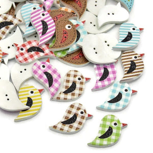 27mm Mixed color bird button - wood button - craft button - Fun buttons - cute buttons - 2 holes - 10 pieces (1598)