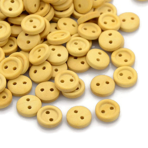 10mm Natural wood button - Petite button - craft button - Fun buttons - wooden buttons - 2 holes - 10 pieces (1600)