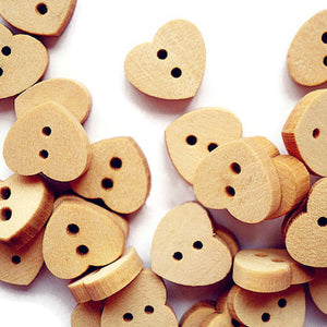 13mm heart button - Natural wood button - Petite button - craft button - Fun buttons - wooden buttons - 2 holes - 6 pieces (1599)