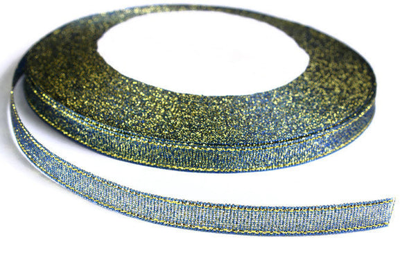 6mm Sparkle blue yellow ribbon - Satin ribbon - Metallic Sparkle satin ribbon - Spool ribbon - 25 yards - 75 feet (R051)