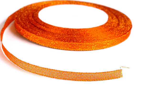 6mm Sparkle orange ribbon - Satin ribbon - Metallic Sparkle satin ribbon - Spool ribbon - 25 yards - 75 feet (R053)