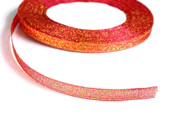 6mm Fuschia gold Sparkle ribbon - Satin ribbon - Metallic Sparkle satin ribbon - Spool ribbon - 25 yards - 75 feet (R058)