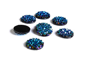 12mm Turquoise blue green round resin cabochon - Faux druzy cabochon - Faux drusy cabochon - Textured cabochons - 6 pieces (1621---)